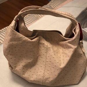 Furla Ostrich off white leather hobo style handbag